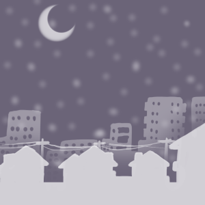 Snowy and quiet, the town at Christmas night...